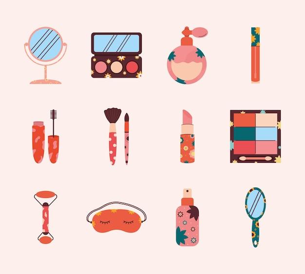 Set of twelve beauty icons