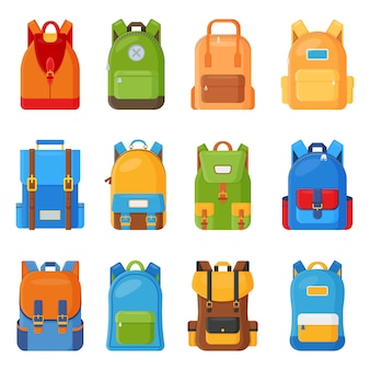 Set of twelve colored school backpacks