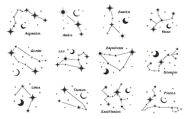Set of twelve constellations. zodiacal circle. black hand drawn stars on white background. starry sky. horoscope, predictions and prophecies. abstract vector illustration.