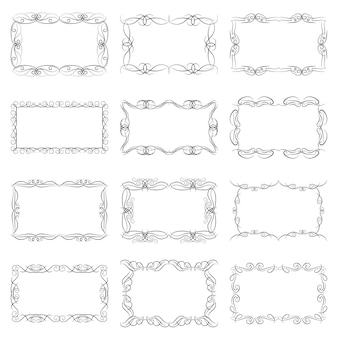 Set of twelve decorative vintage horizontal frames with the place for your text in center. vintage ornament greeting card template. vector illustration.
