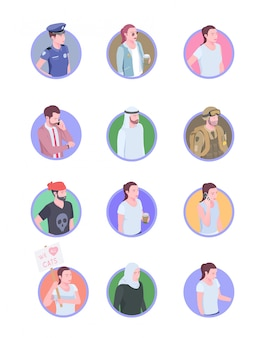 Set of twelve isolated society people isometric icons avatars with doodle human characters