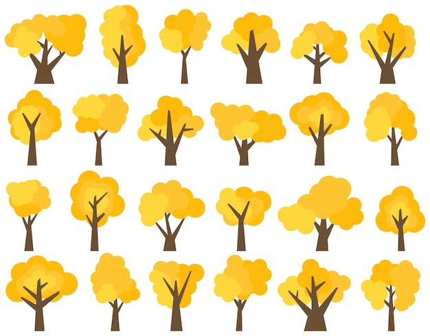 Set of twenty four different cartoon yellow trees isolated on white background. vector illustration
