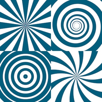 Set of twirls. psychedelic circles and swirl. spiral twirl circle background, illustration of twist round pattern