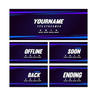 Set twitch banner and screen pack template