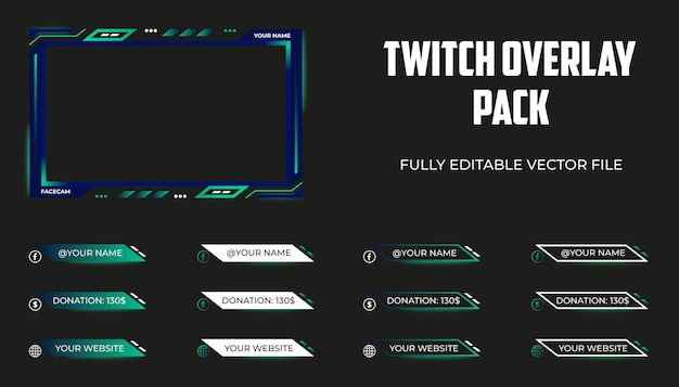 Set of twitch overlay, streaming panels or lower thirds template