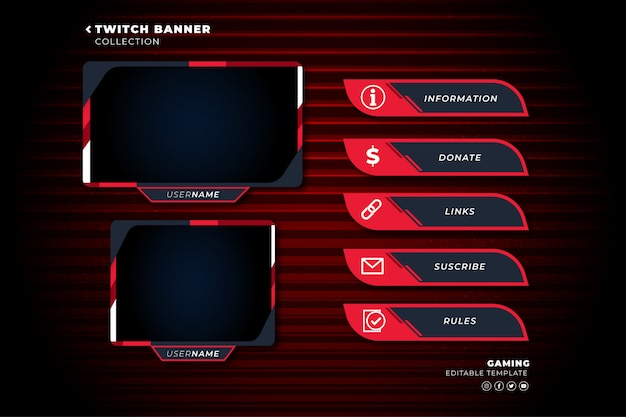 Set of twitch panels with abstract shapes template