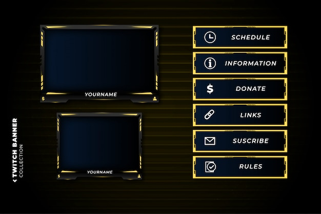 Set of twitch panels with abstract yellow shapes template