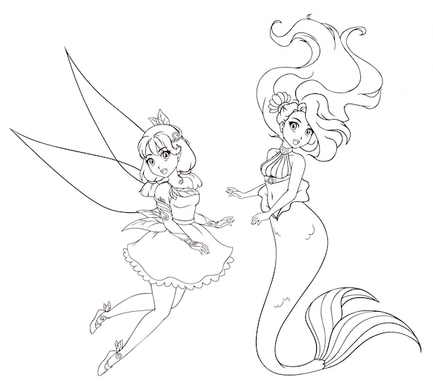 Set of two anime style characters. mermaid and fairy. hand drawn  illustration on a white background for coloring book, tattoo, card, t-shirt template etc.