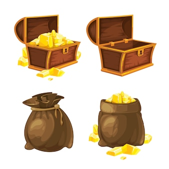 Set of two bags and chests with gold. vector illustration.