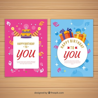 Set of two birthday cards in flat design