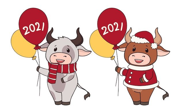 Set of two cartoon cow wearing christmas costume and holding balloons.