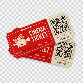 Set of two cinema movie tickets with camera