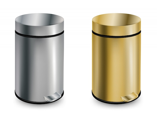 Set of two closed trash cans