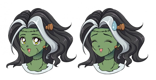 Set of two cute anime zombie girl portrait. opened and closed eyes versions.