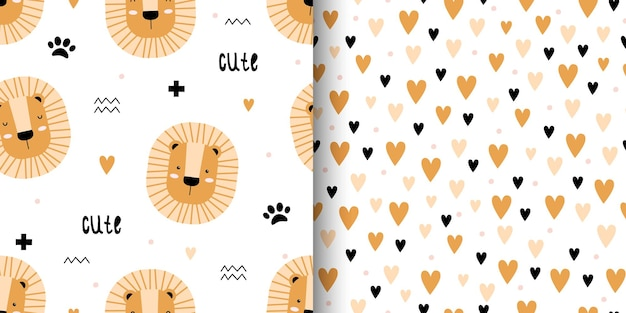 Set of two cute seamless pattern with lions and hearts