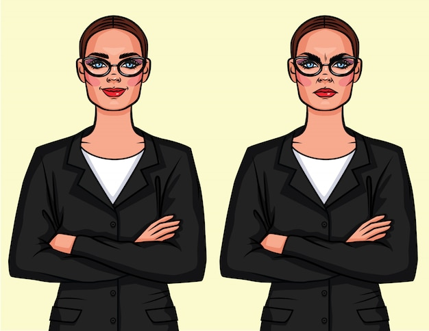 Set of two different opposite emotions women in glasses with crossed arms
