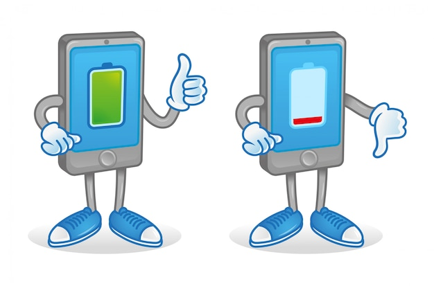 Set two digital cartoon characters icons smartphone tablet gadget with different battery charge full and low interest energy accumulator. they show thumb up and down. modern illustration flat design.