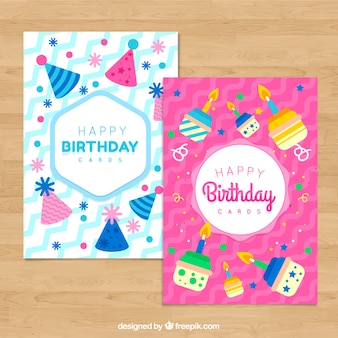 Set of two flat birthday cards