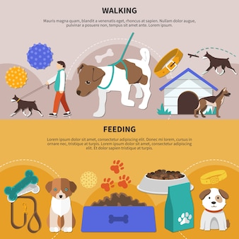 Set of two flat pictorial horizontal banners with dogs fetch walking and feeding accessories and products