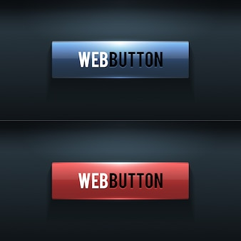 Set of two glossy buttons on dark background