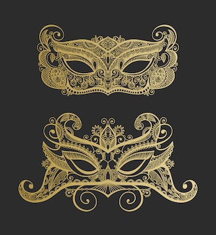 Set of two gold lineart venetian carnival lace mask silhouette