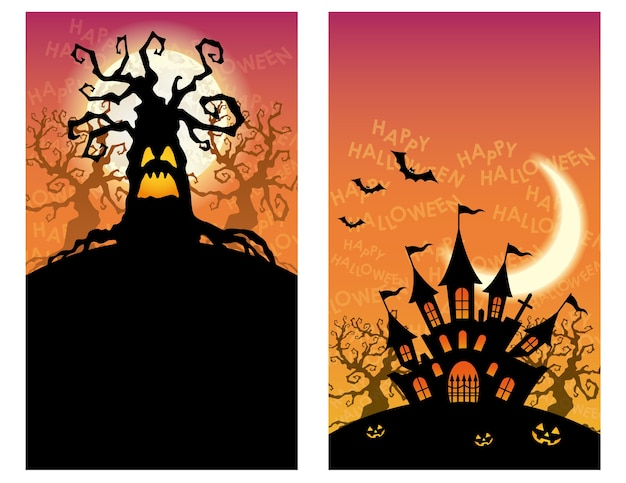 Set of two happy halloween greeting card templates with haunted trees and a mansion.