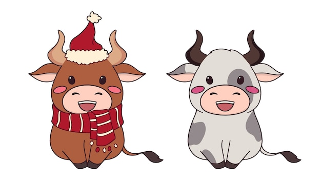 Set of two happy little cow wearing christmas hat and scarf