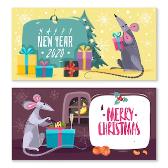 Set of two horizontal banners with cartoon characters rats mice