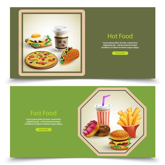 Set of two horizontal banners with fast food and drinks