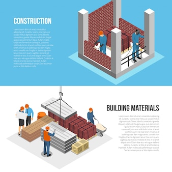 Set of two horizontal isometric builder architect banners with images of constructor characters and editable text vector illustration