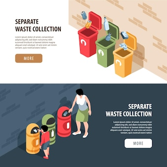 Set of two horizontal isometric garbage waste recycling banners with editable text