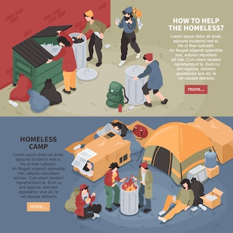 Set of two horizontal isometric homeless people banners with editable text more button and image compositions vector illustration