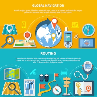 Set di due banner di navigazione orizzontali con icone isolate di gadget per mappe e app per la creazione di grafici