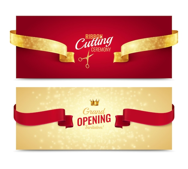 Set of two horizontal opening banners with realistic ribbons