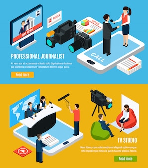 Set of two horizontal photo video isometric banners with read more buttons human characters
