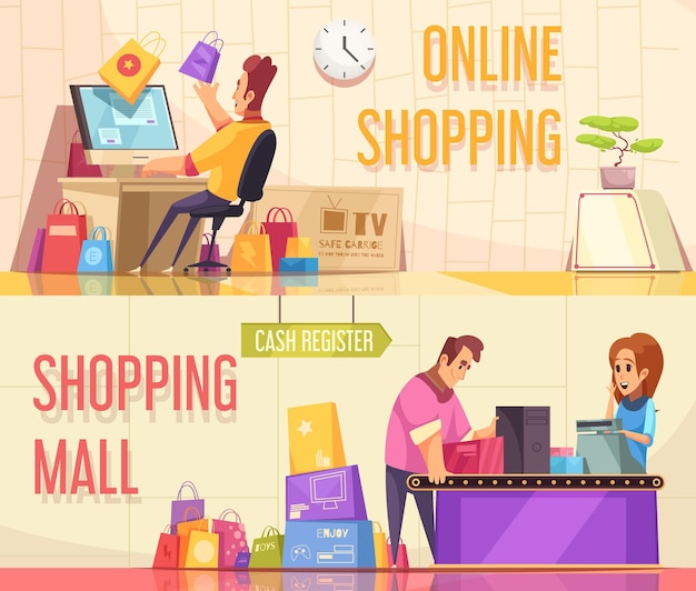 Set of two horizontal shopaholic banners with cartoon compositions of people characters and goods with text