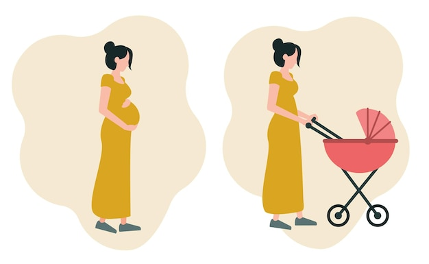 A set of two images a pregnant girl hugging her stomach a young mother walking with a stroller