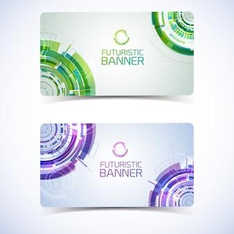 Un insieme di due bandiere orizzontali di tecnologia virtuale moderna isolate con i bolli decorativi di pendenza dettagliati cerchi futuristici