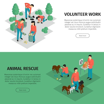 Set of two isometric charity horizontal banner with editable text read more button and human characters vector illustration