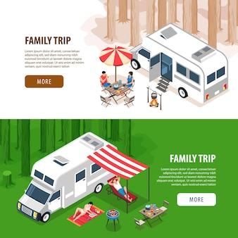 Set of two isometric family trip horizontal banners illustration