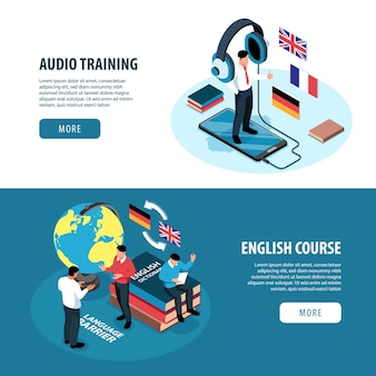 Set of two isometric language training center hotizontal banners with images of books, flags and people