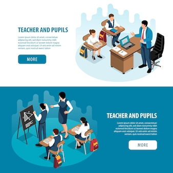 Set of two isometric school banners illustration