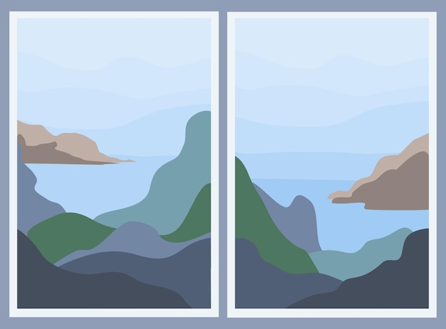 Set of two minimalistic landscapes. abstract mountains and sea.