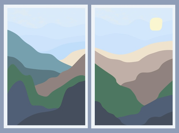 Set of two minimalistic landscapes. abstract mountains and sun in the sky. for a stylish background