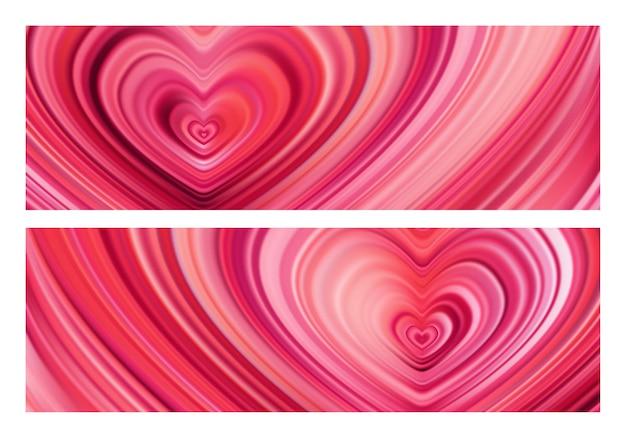 Set of two modern flow hearts. wave color liquid shape.