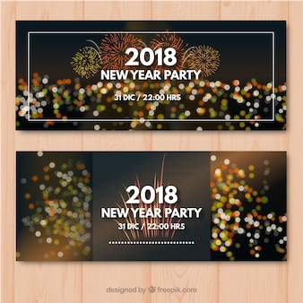Set of two new year party banners with bokeh effect