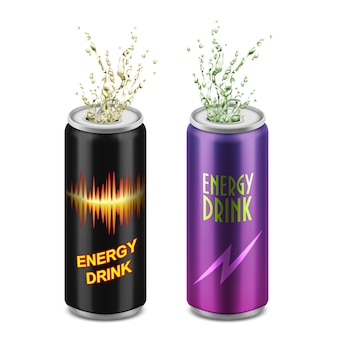 Set of two realistic aluminum cans with open lids and splashes isolated on background