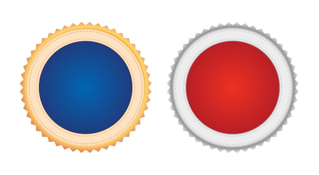 Set of two seal stamp shaped golden and silver metal award medal badge with red and blue copy space