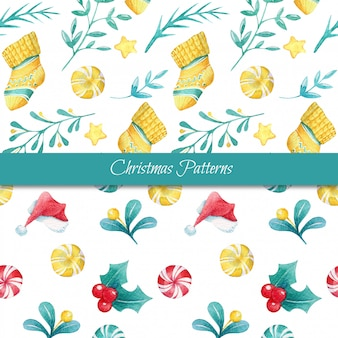 Set of two seamless watercolor christmas patterns