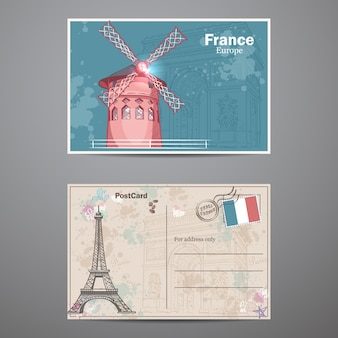 A set of two sides of a postcard on the theme of paris